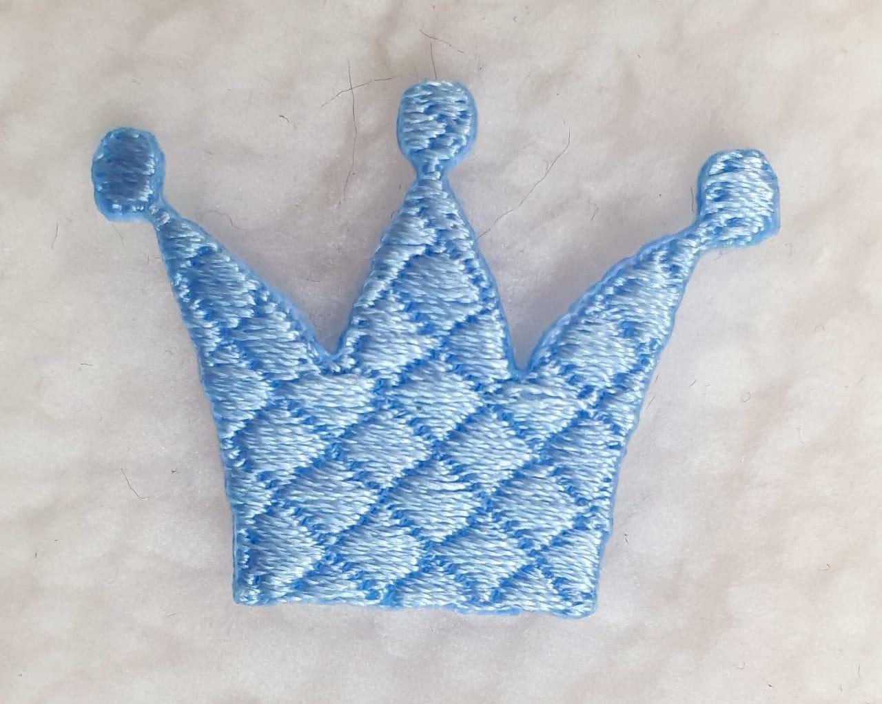 Aplique coroa azul P ( bordado )