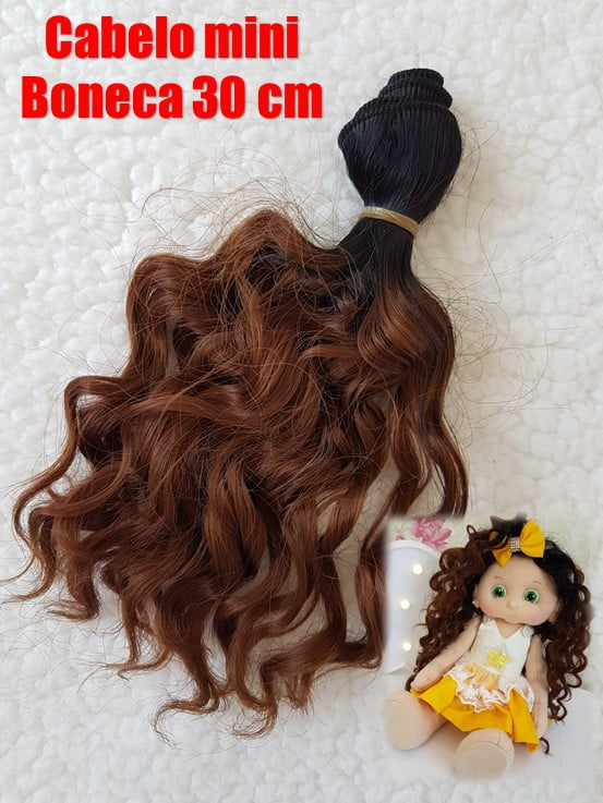 Cabelo cacheado mini boneca Juliana