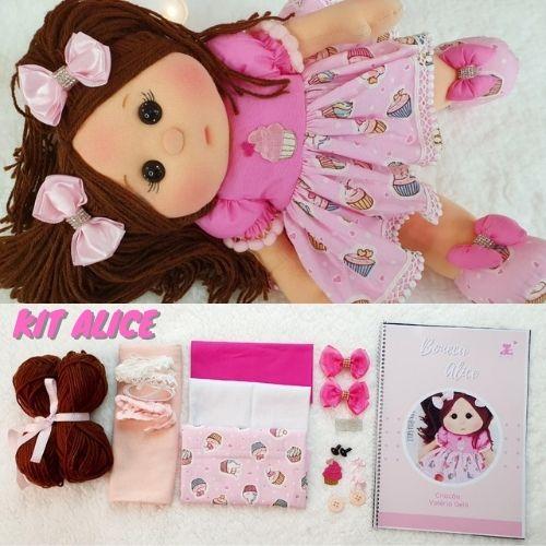 Kit boneca Alice + BRINDE APOSTILA DE MOLDES ENCADERNADA