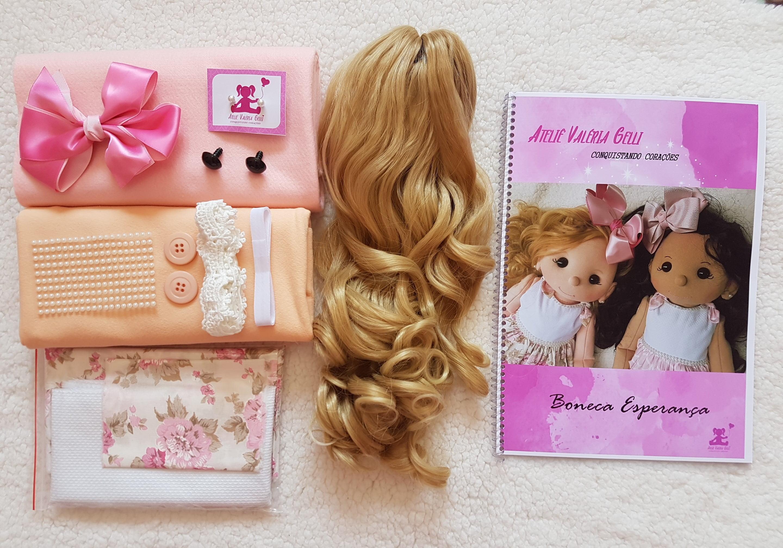 Kit material boneca Esperança loira + apostila encadernada