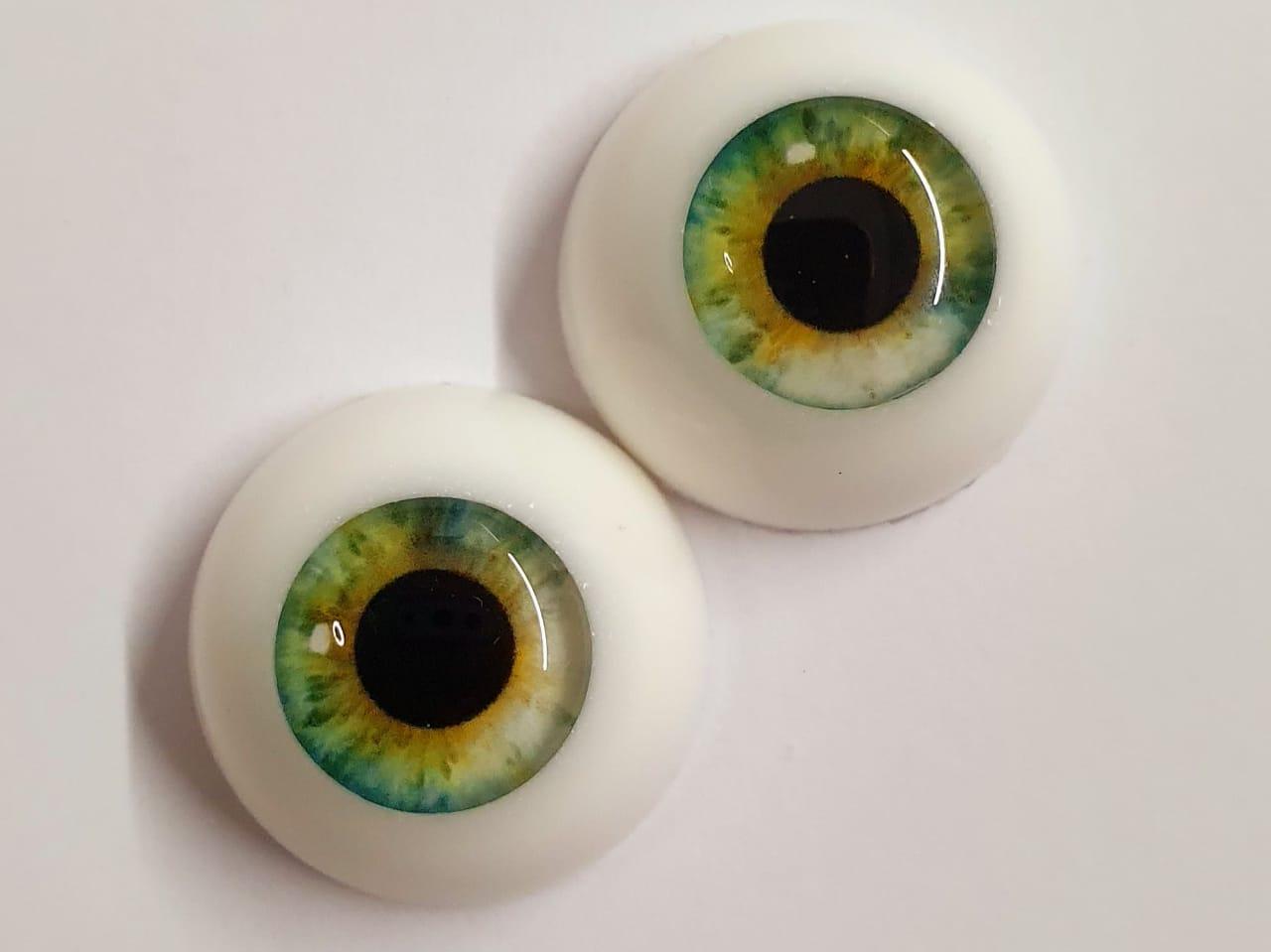 Olhos realistas verde claro 22 mm. cores exclusivas e raras