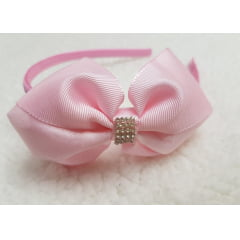Tiara laço rosa Luxo rosa