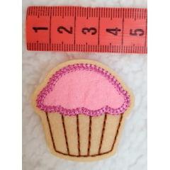 Aplique cupcake Rosa/bege