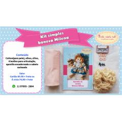 kit simples boneca Milena (CABELO NA COR CASTANHO+ TECIDO SALMON )