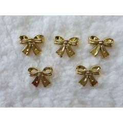 Laço dourado 5 unidades aplique costurado