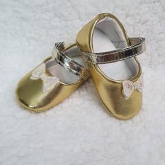 sapatinho dourado laço brilhante