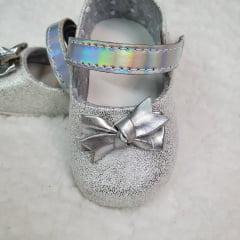 sapatinho laço prata