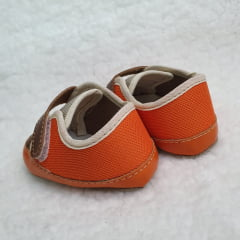 sapatinho masculino laranja velcro marrom