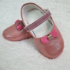sapatinho rosa brilhante  laço pink